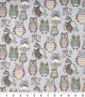 Novelty Cotton Fabric-Funky Owls