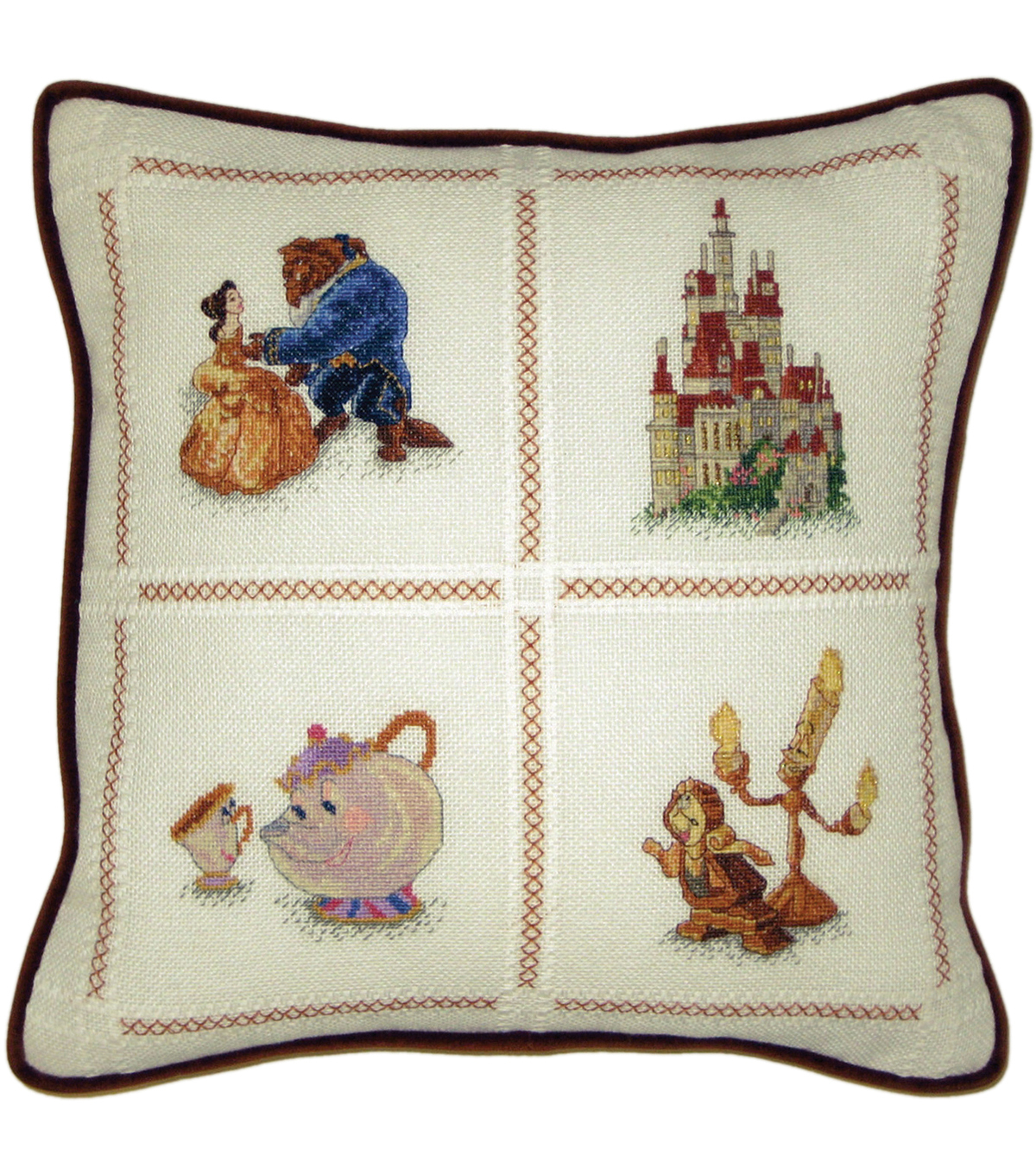 Beauty & The Beast Pillow Counted Cross Stitch Kit-14\u0022X14\u0022 18 Count