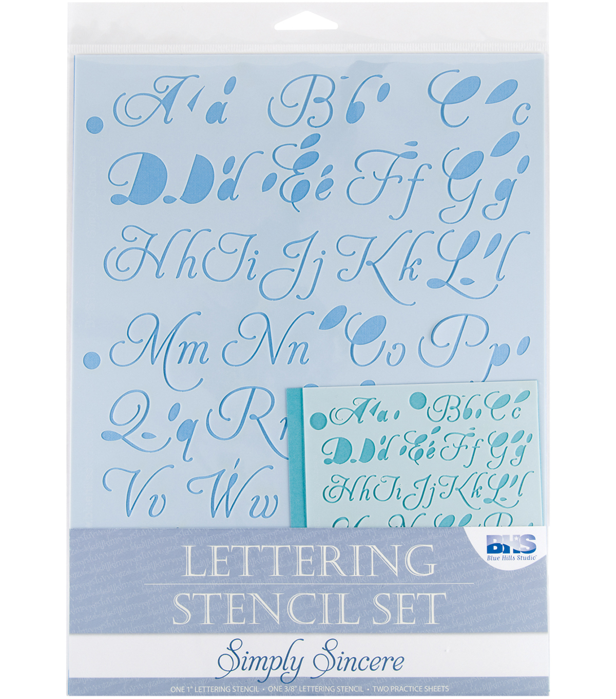 Blue Hills Studio  Lettering Stencil 4 Piece Sets-Simply Sincere
