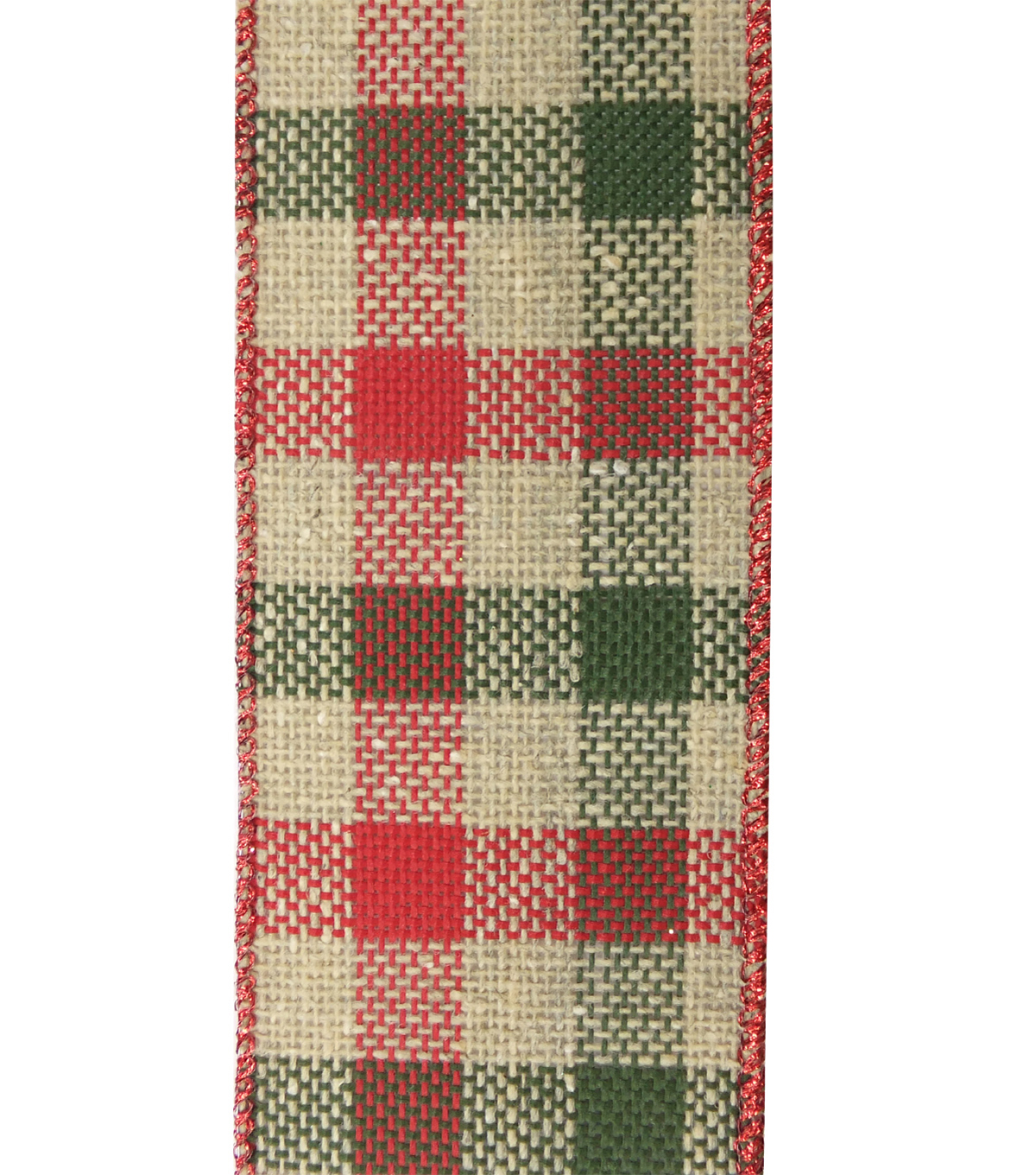 Maker\u0027s Holiday Burlap Ribbon 2.5\u0027\u0027X20\u0027-Natural, Green & Red Check