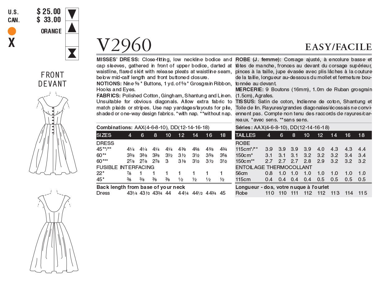 Vogue Patterns Misses Dress-V2960