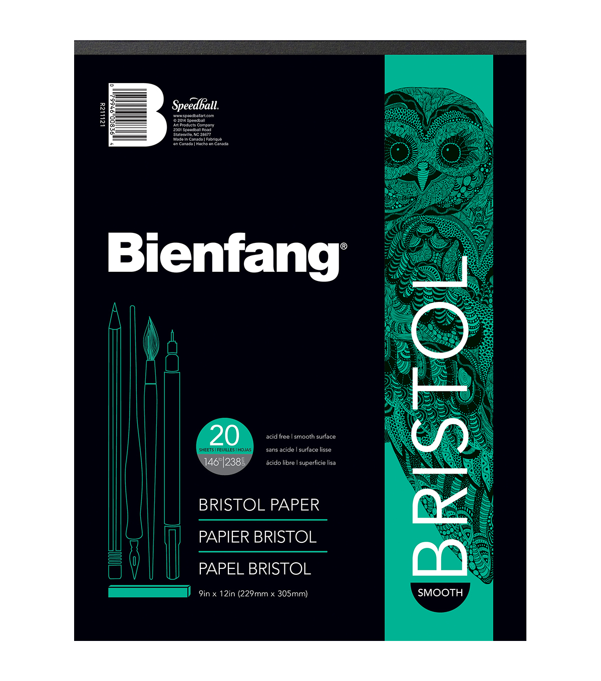 "Bienfang Bristol Board Smooth Paper Pad 9""X12""-20 Sheets"