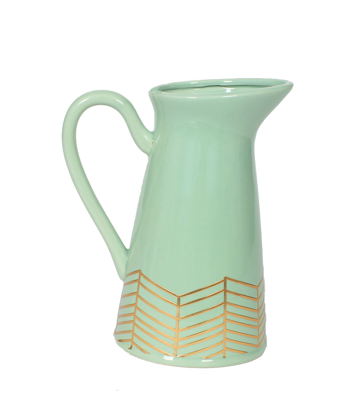Wild Blooms Ceramic Pitcher Vase-Green