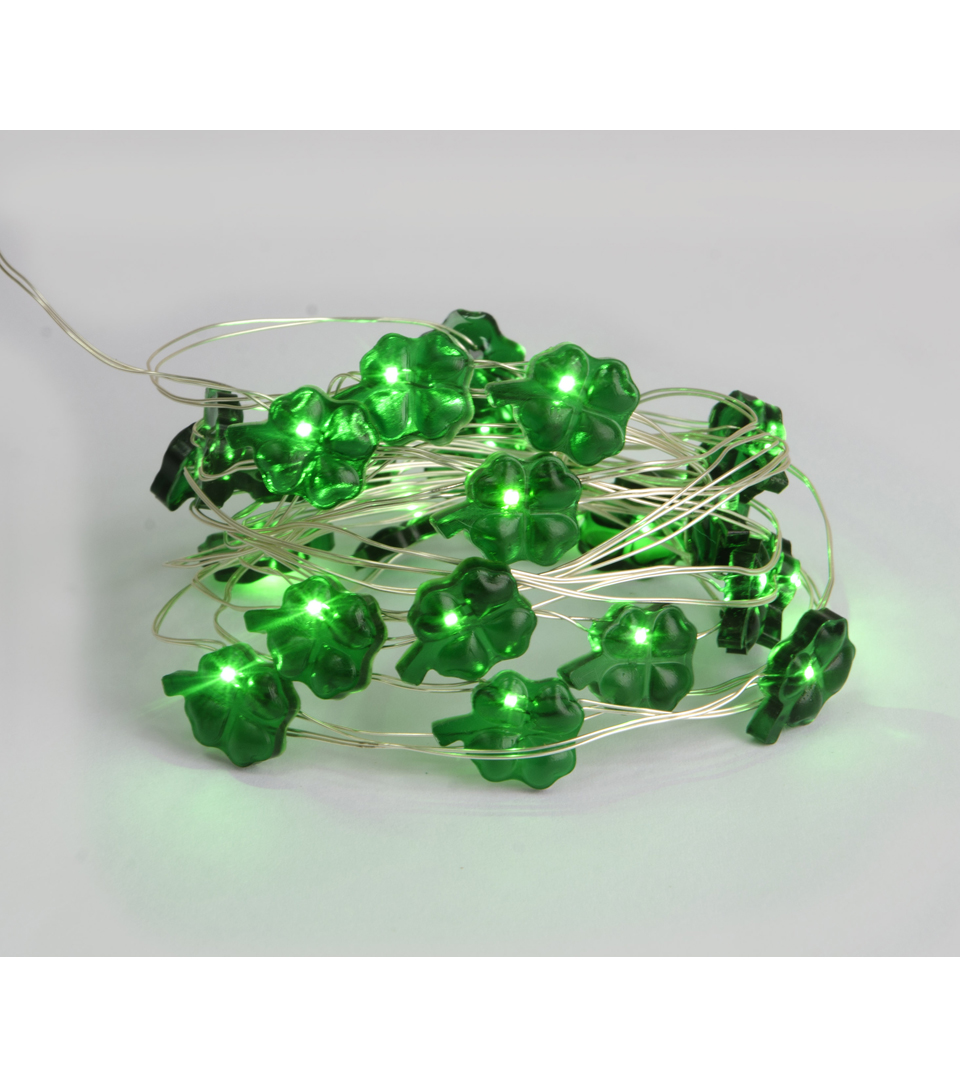St. Patrick\u0027s Day 25 Light Shamrock Green LED Rice Light-Silver