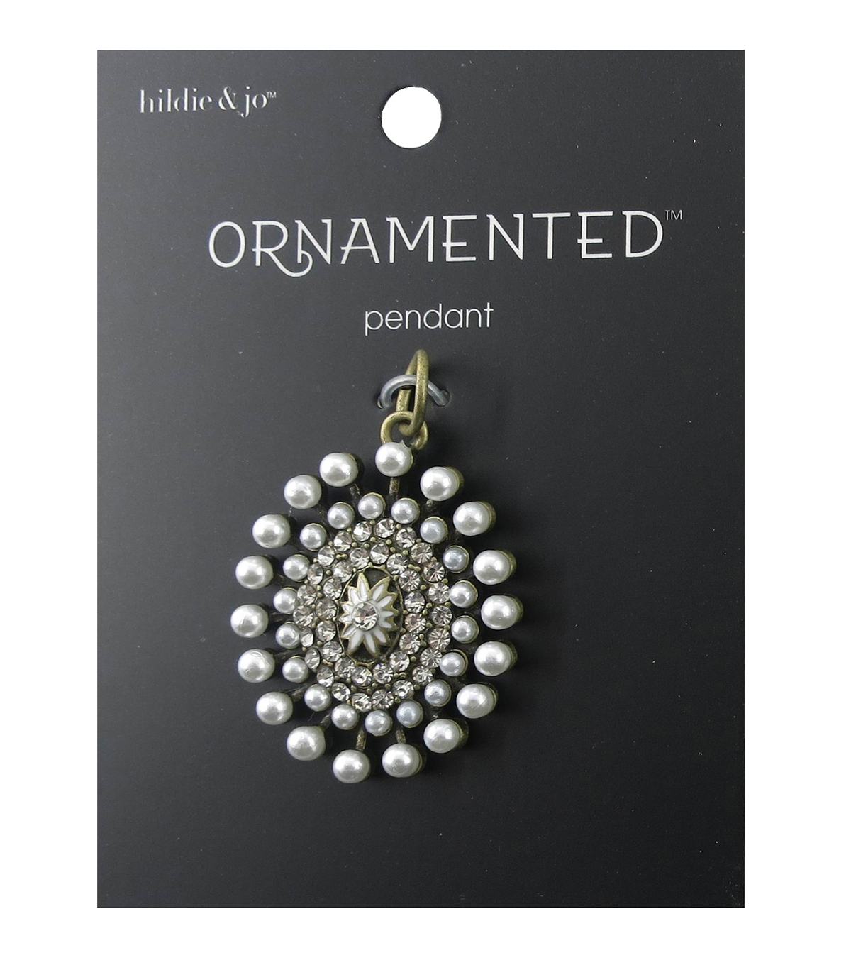 hildie & jo™ Circle Antique Gold Pendant-Pearls & Crystals