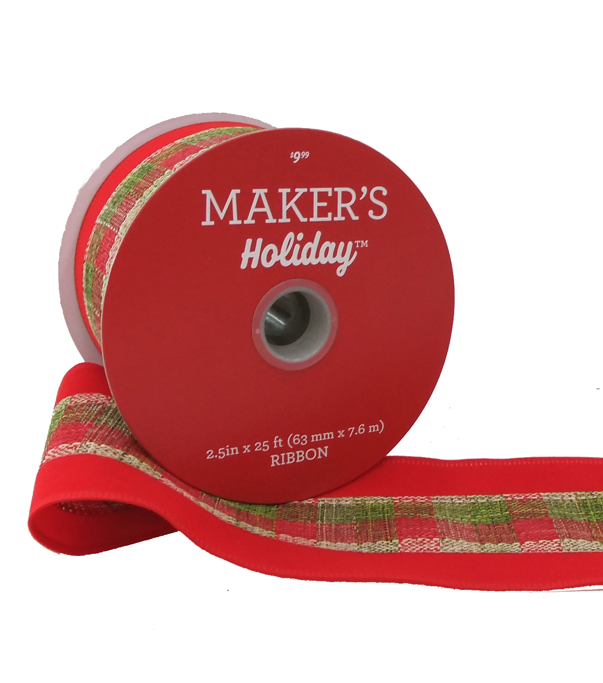 Maker\u0027s Holiday Christmas Ribbon 2.5\u0027\u0027x25\u0027-Plaid with Red Velvet Edge