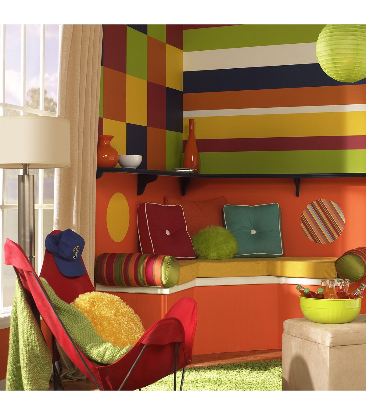 Wall Pops Totally Orange Stripe Decals, 32 Feet