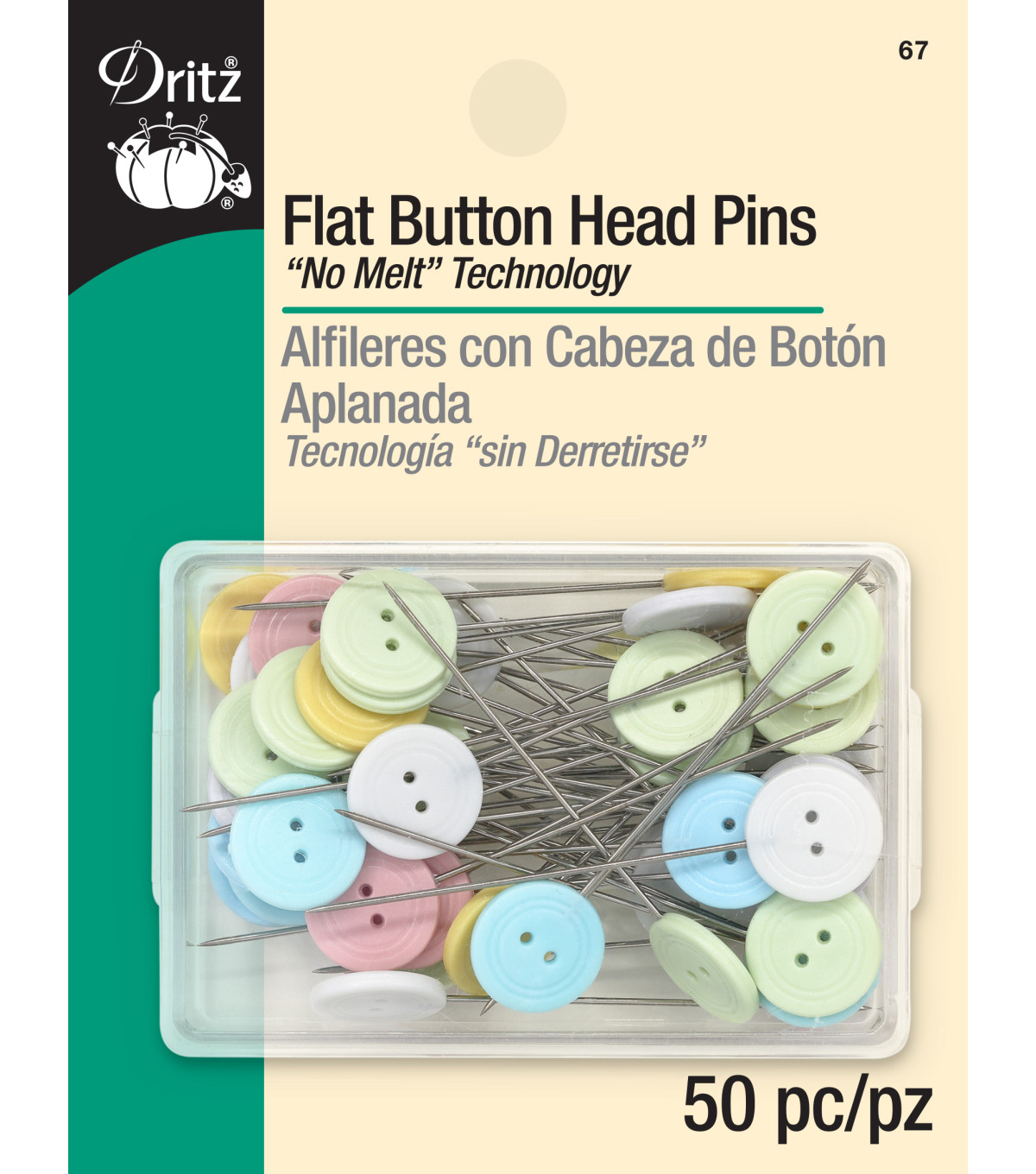 Dritz Flat Button Head Pins 50pcs