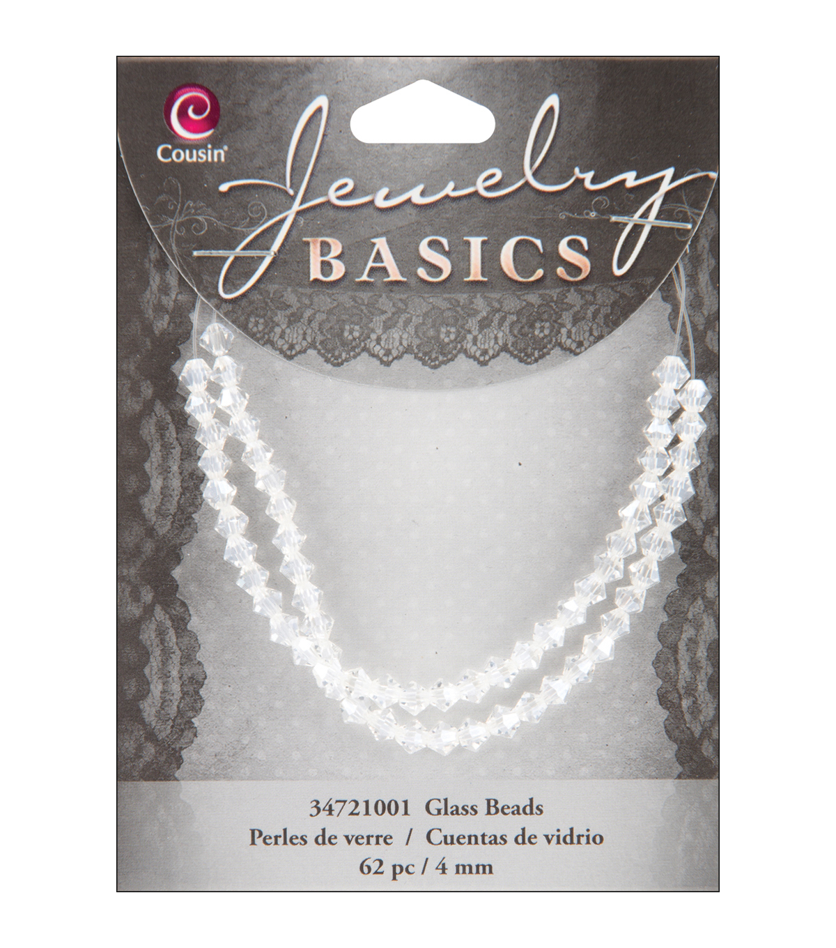 Jewelry Basics Crystal Bicone Beads 4mm 62/Pkg-Crystal
