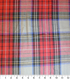 Perfectly Plaid Fabric-Acrylic Gray Red Blue Black