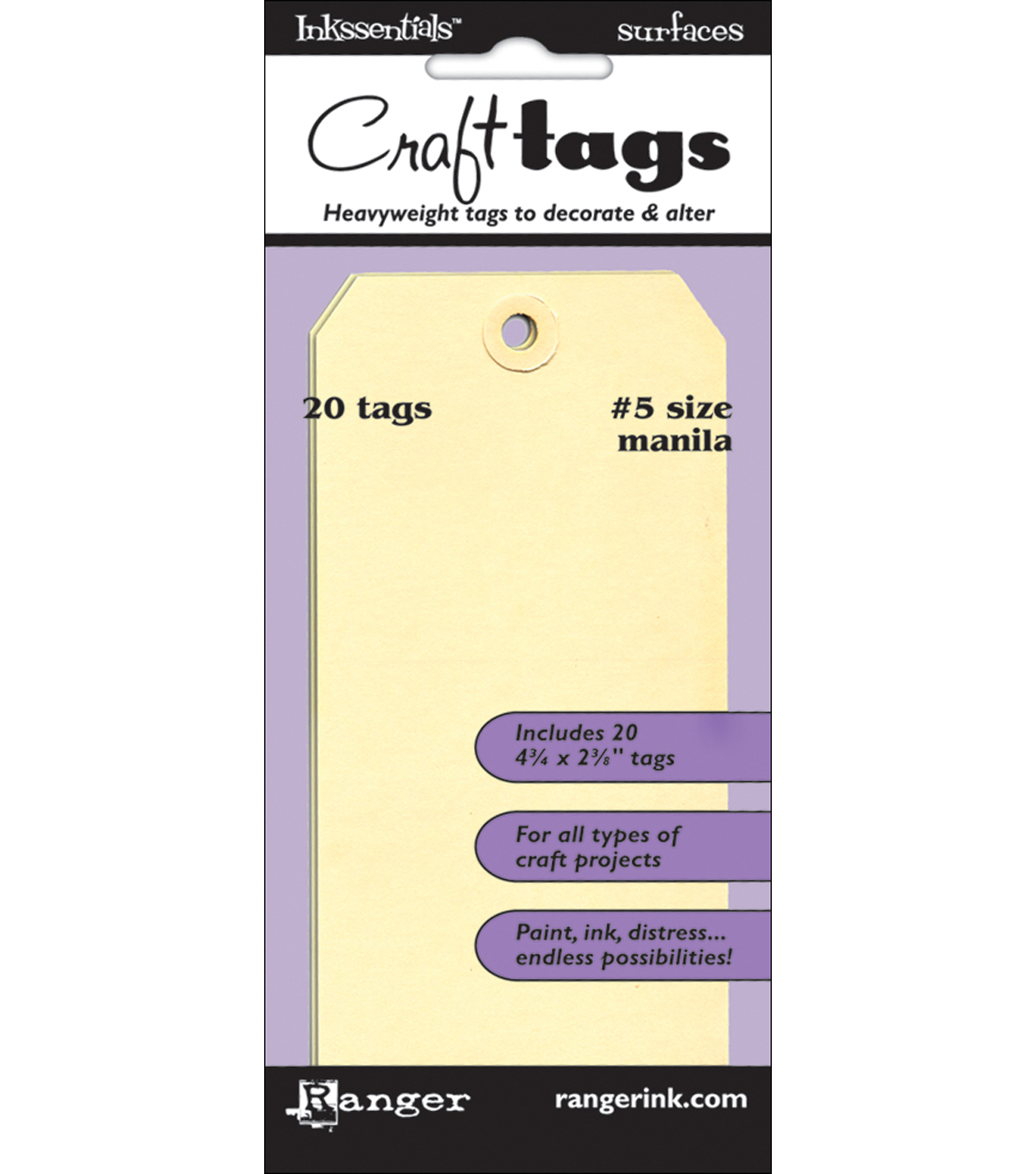 "Inkssentials Manila Surfaces 20Pk-Tag #5 4.5""X2.375"