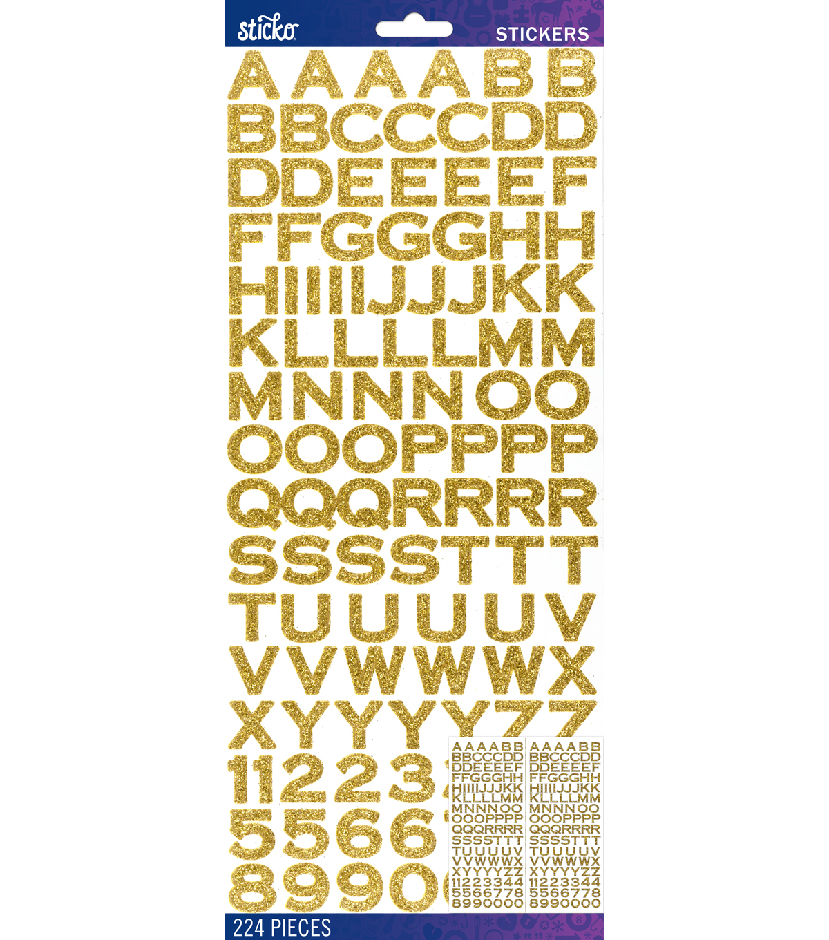 Sticko® 224 Pack Copperplate Glitter Alphabet Stickers-Gold