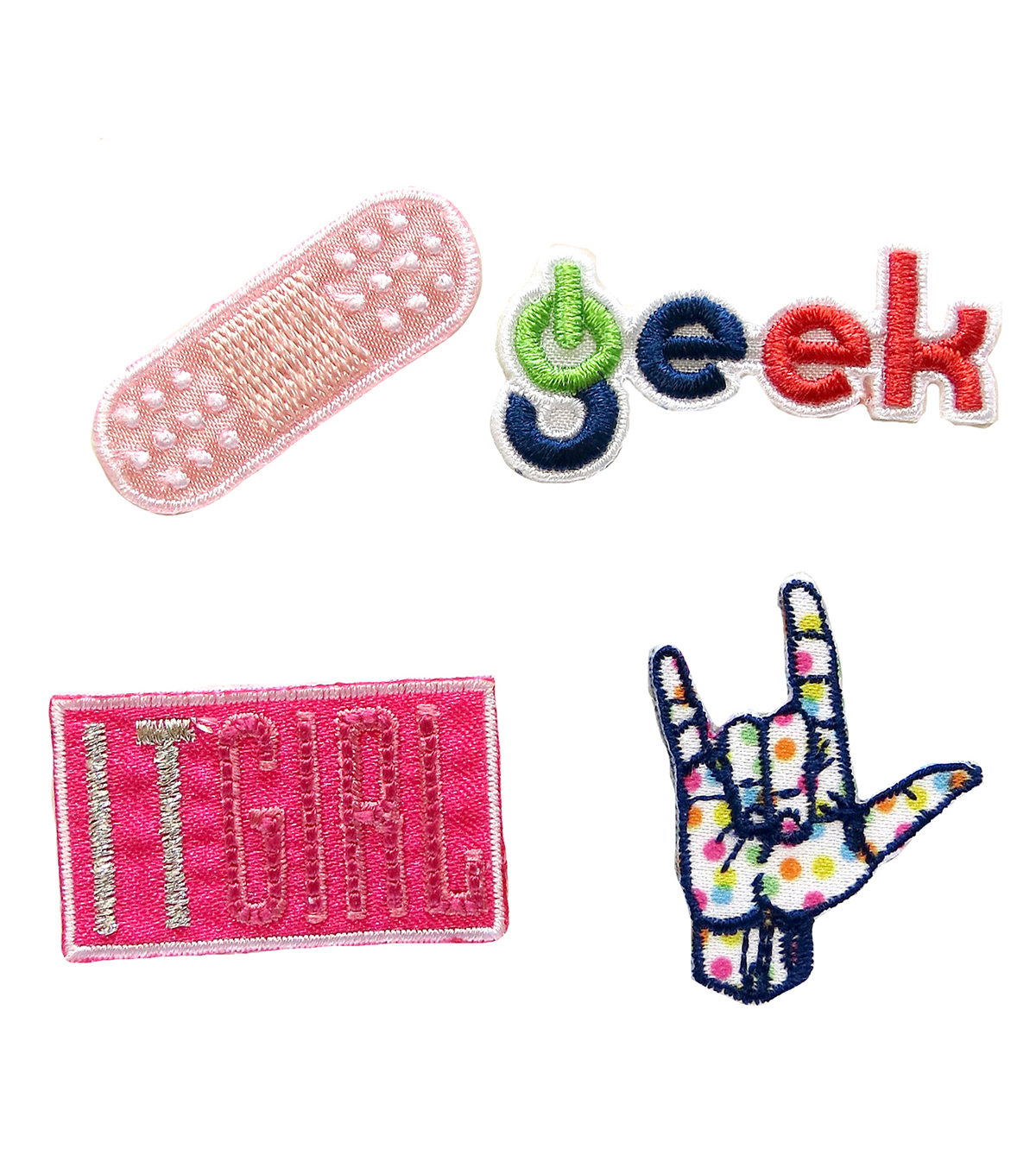 Simplicity® 4 Pack Embroidered Self-Adhesive Patches-Geek & IT Girl