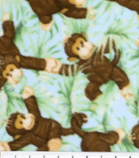 Nursery fabric jungle babies fleece monkey all over joann for Childrens jungle fabric