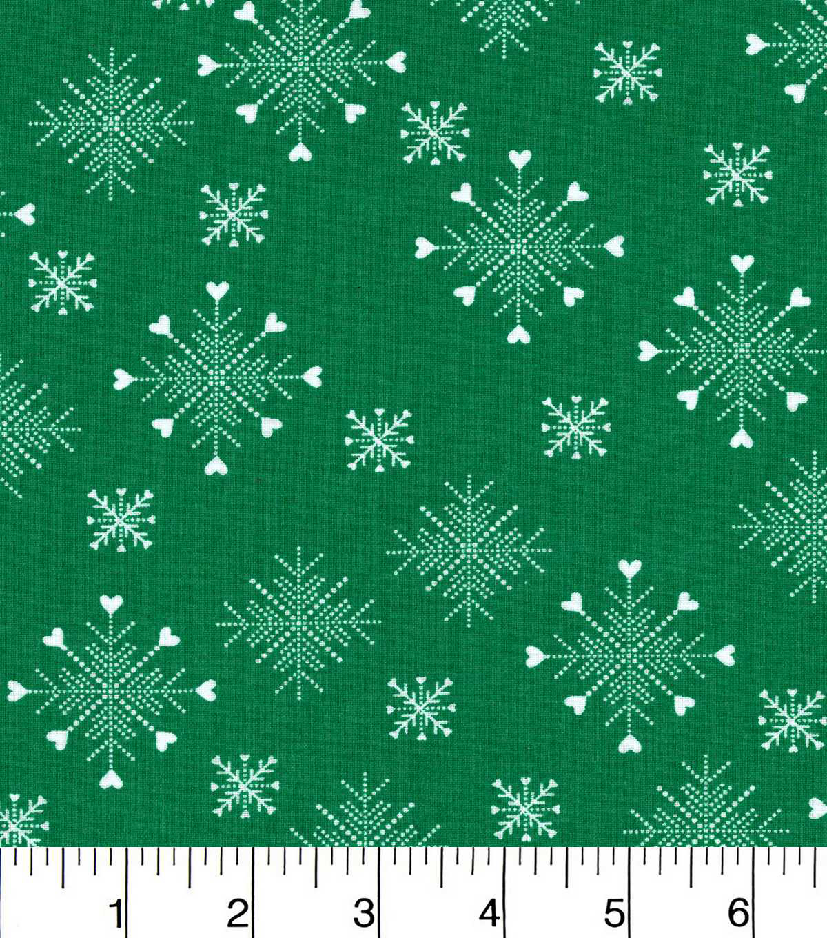 Keepsake Calico Christmas Cotton Fabric-Green Snowflakes With Hearts