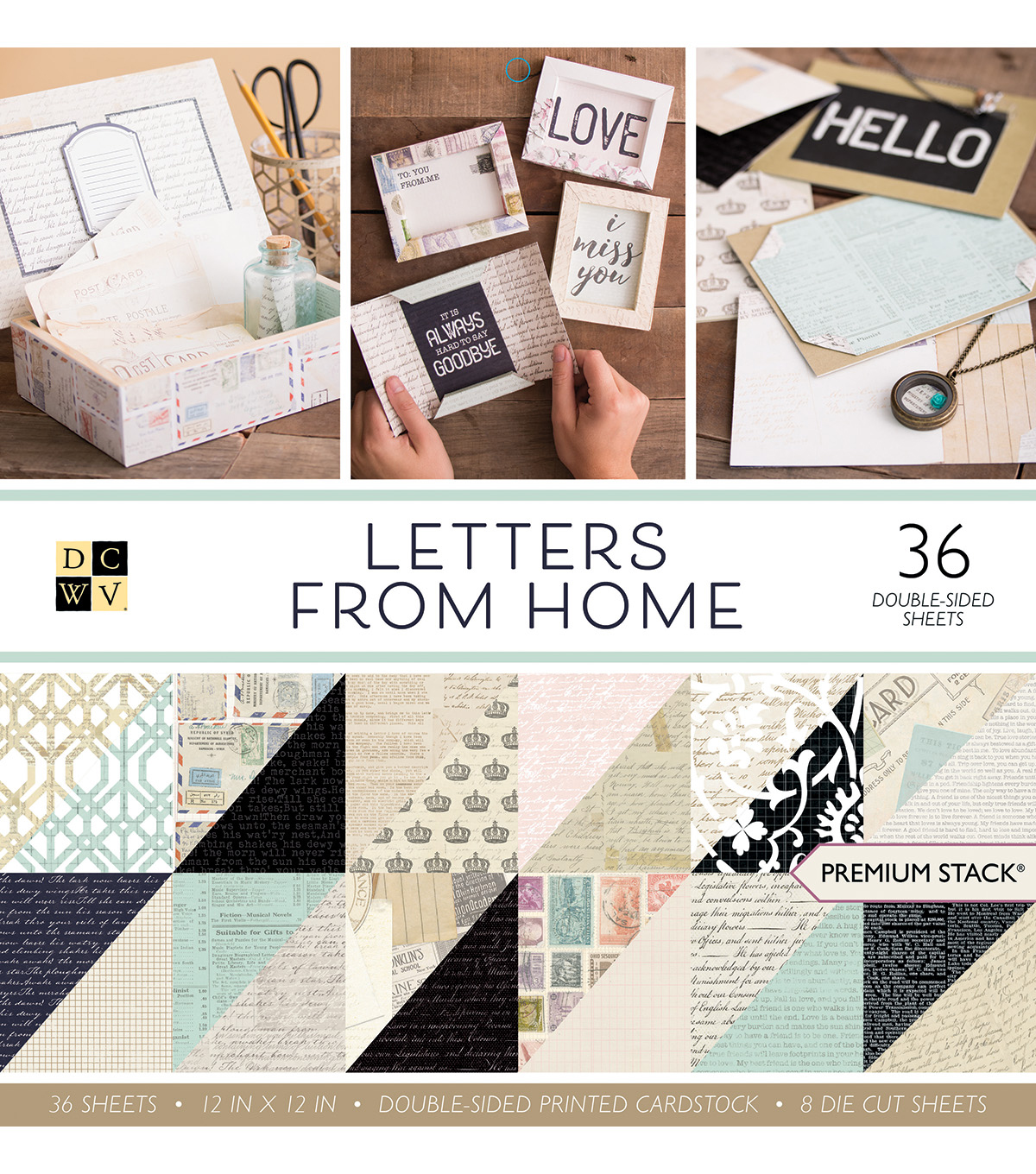 DCWV 12''x12'' Premium Printed Cardstock Stack-Letters From Home