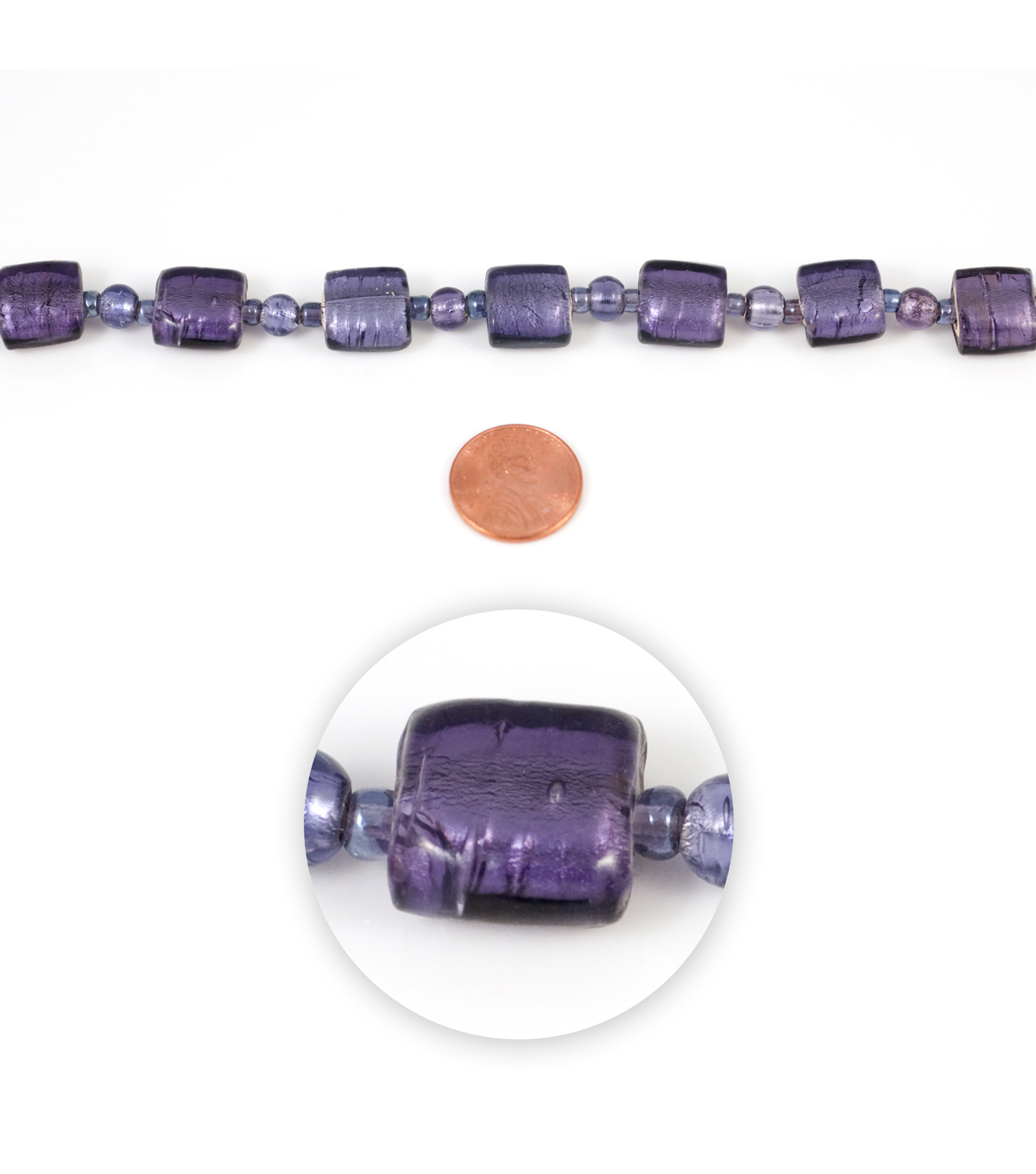 Blue Moon Strung Foiled Glass Beads,Flat Square,Light Purple