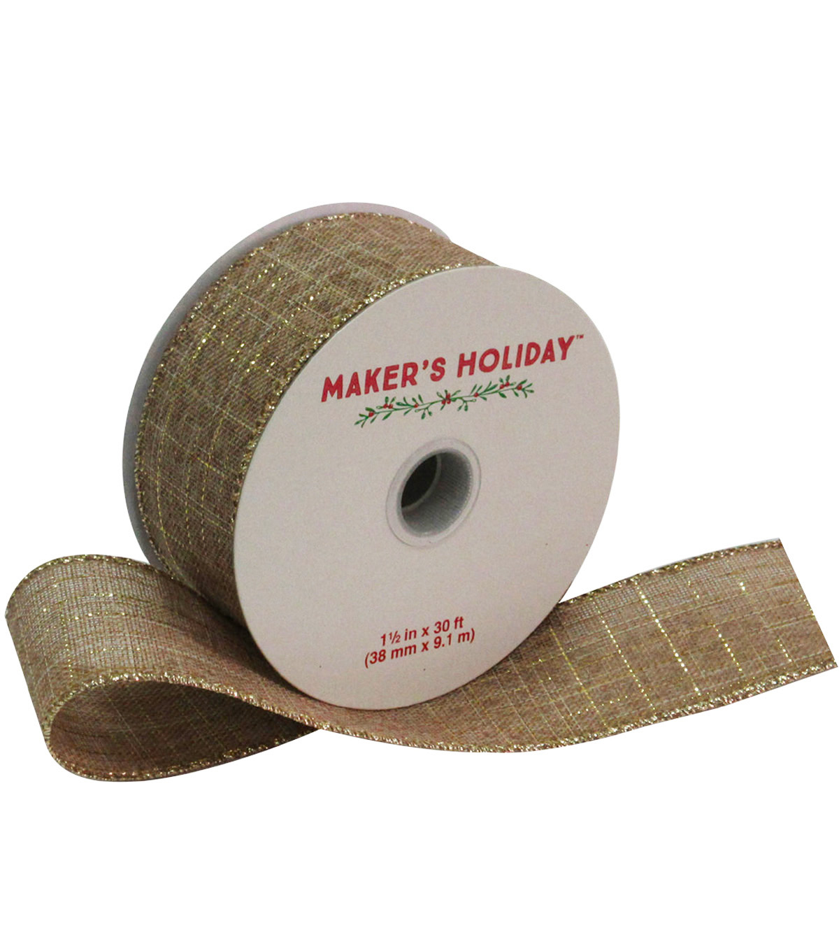 Maker\u0027s Holiday Linen Ribbon With Platinum Thread 1.5\u0027\u0027x30\u0027