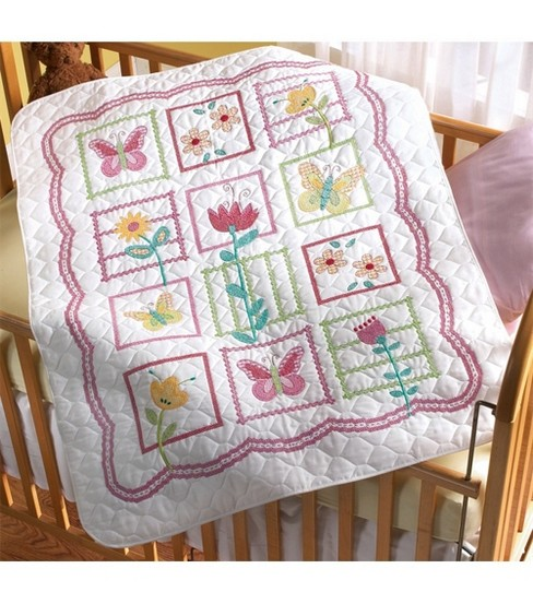 Bucilla Sophie Crib Cover Stamped Cross Stitch Kit-34\u0022x43\u0022
