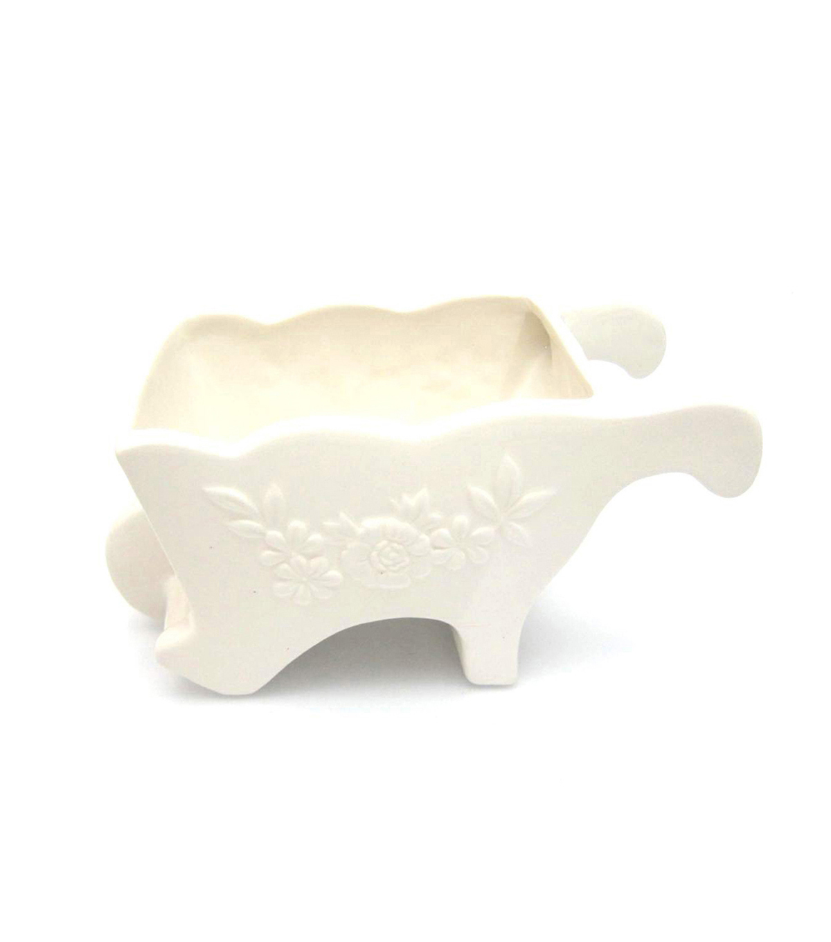 Blooming Spring Dolomite Wheelbarrow Container-Ivory