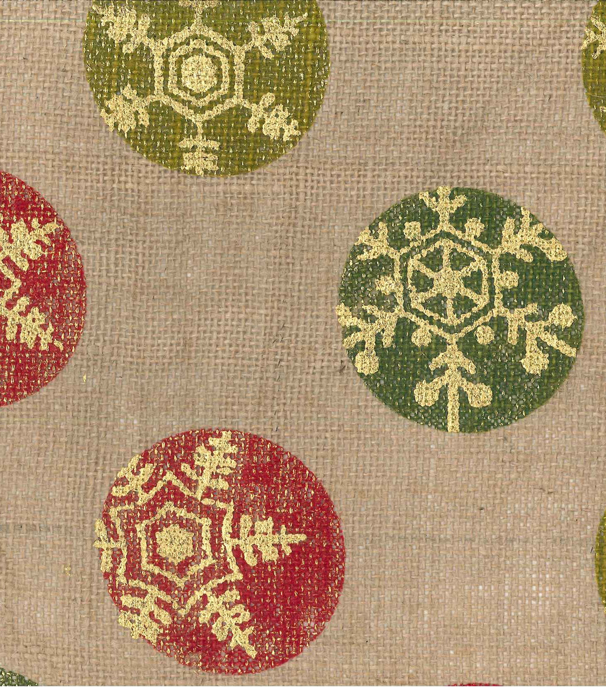 Holiday Inspirations Fabric-Burlap Christmas Dots Metallic