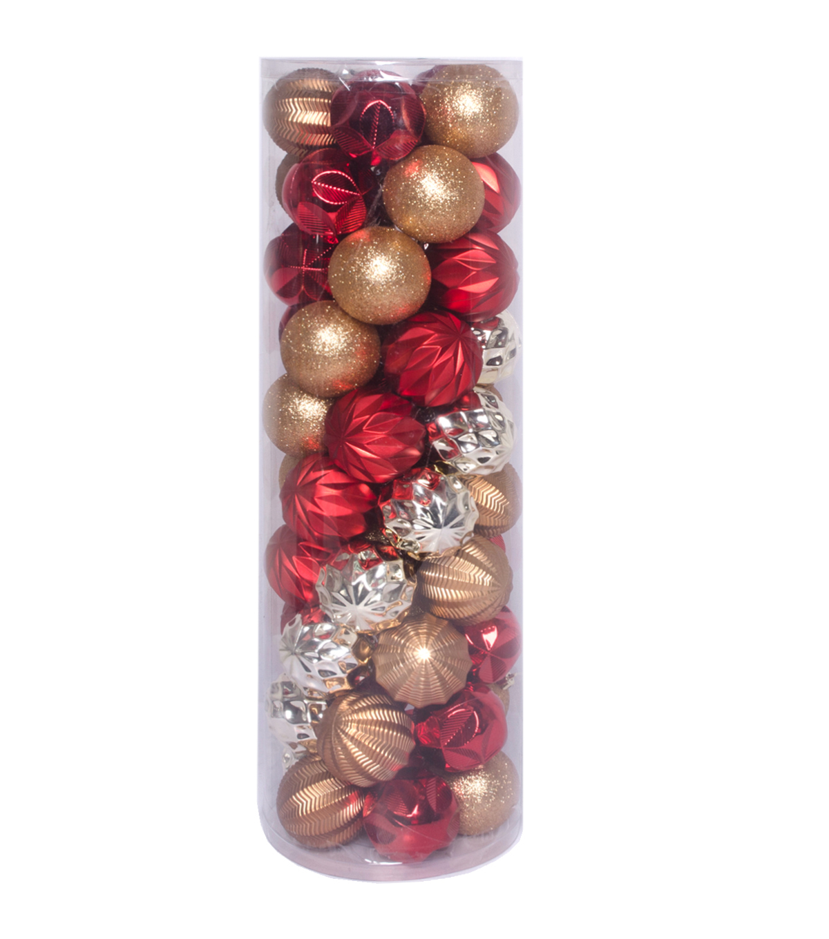 Maker\u0027s Holiday 50 pk 60 mm Shatterproof Ornaments-Red, Silver & Gold