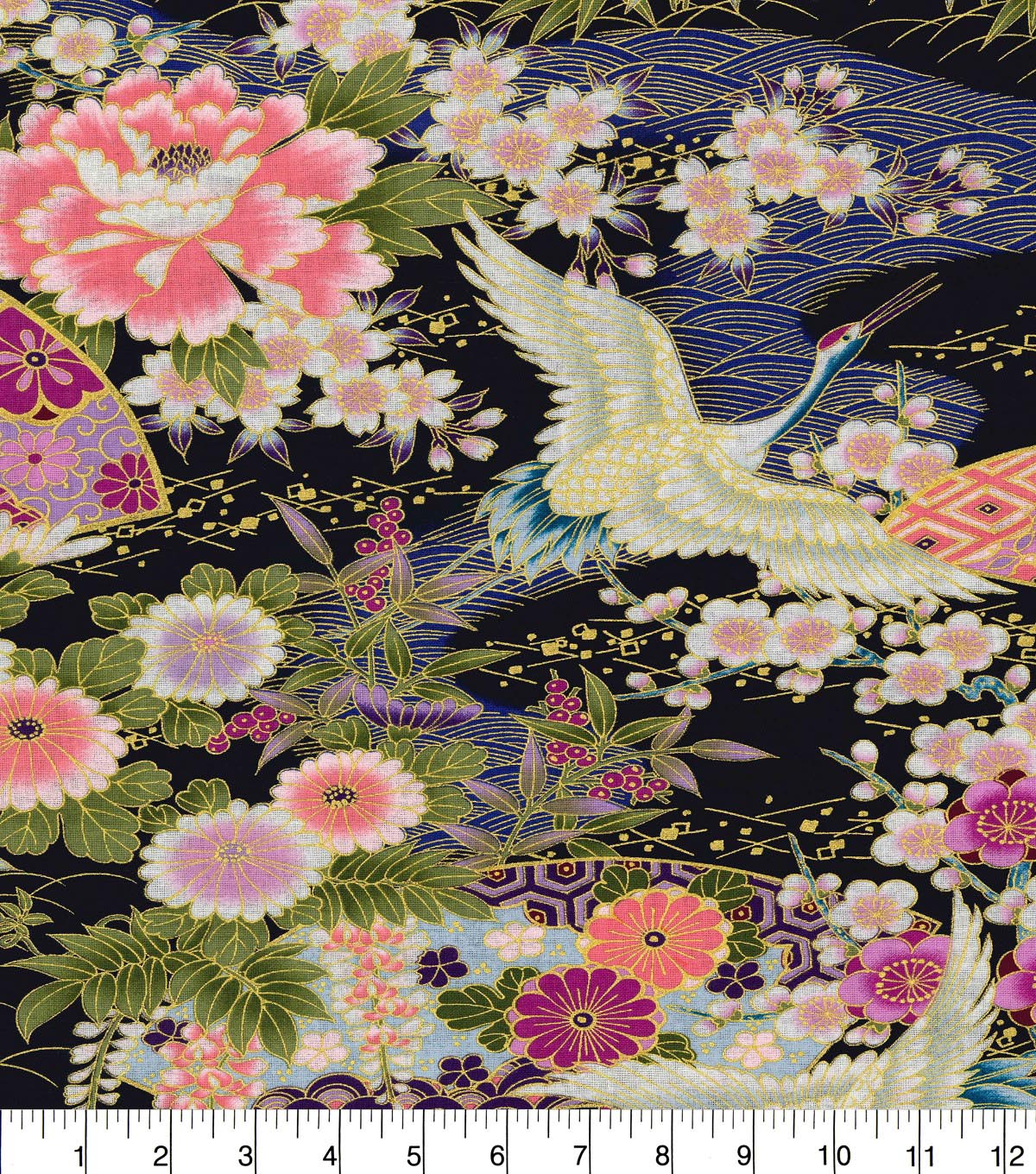 Asian Inspired Cotton Fabric 43\u0022-Floral Main Blue Metallic