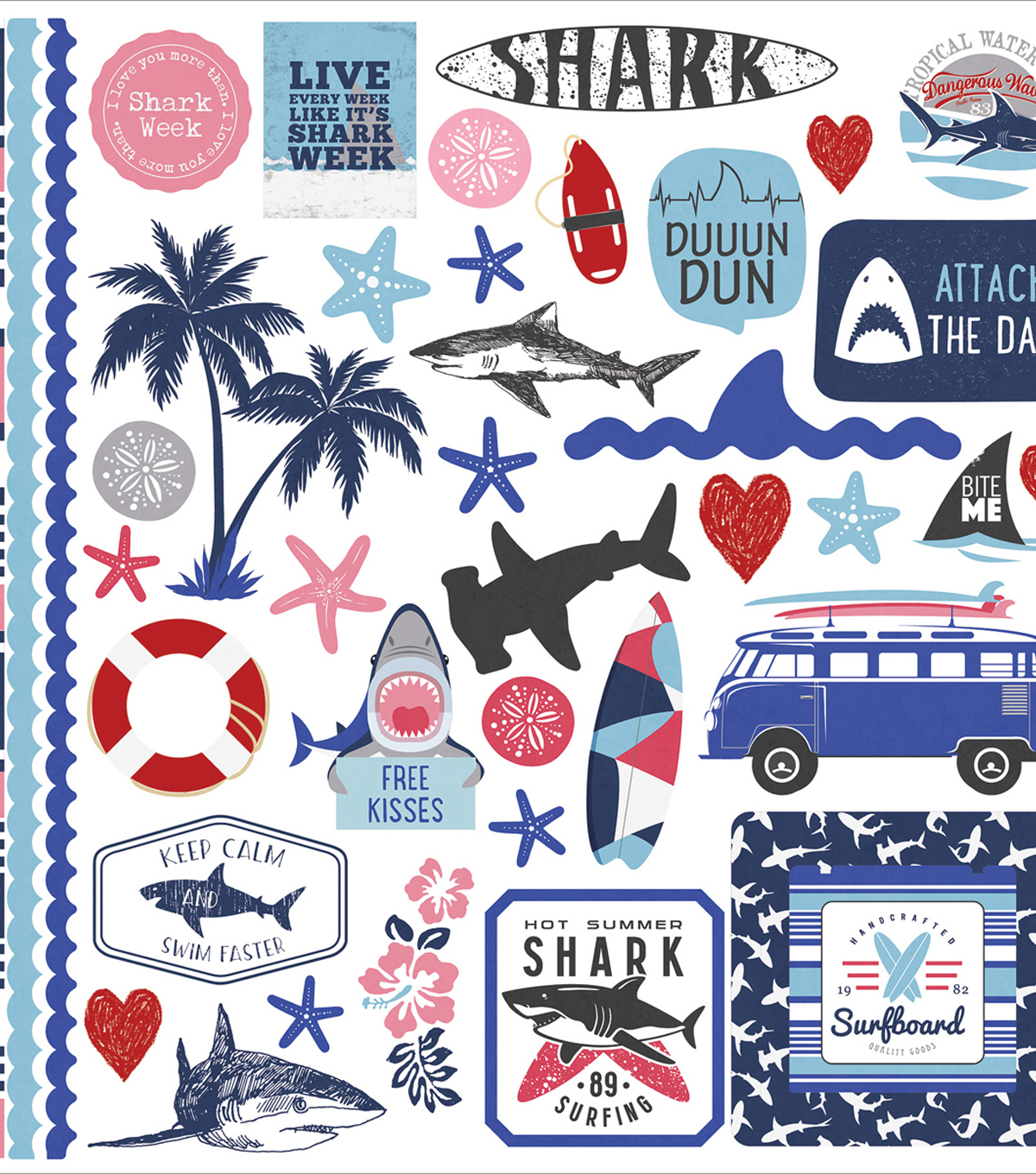 "Shark Attack Stickers 12""X12""-Elements"