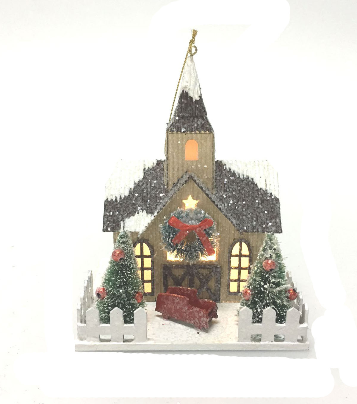 Maker\u0027s Holiday Brown LED Paper Barn