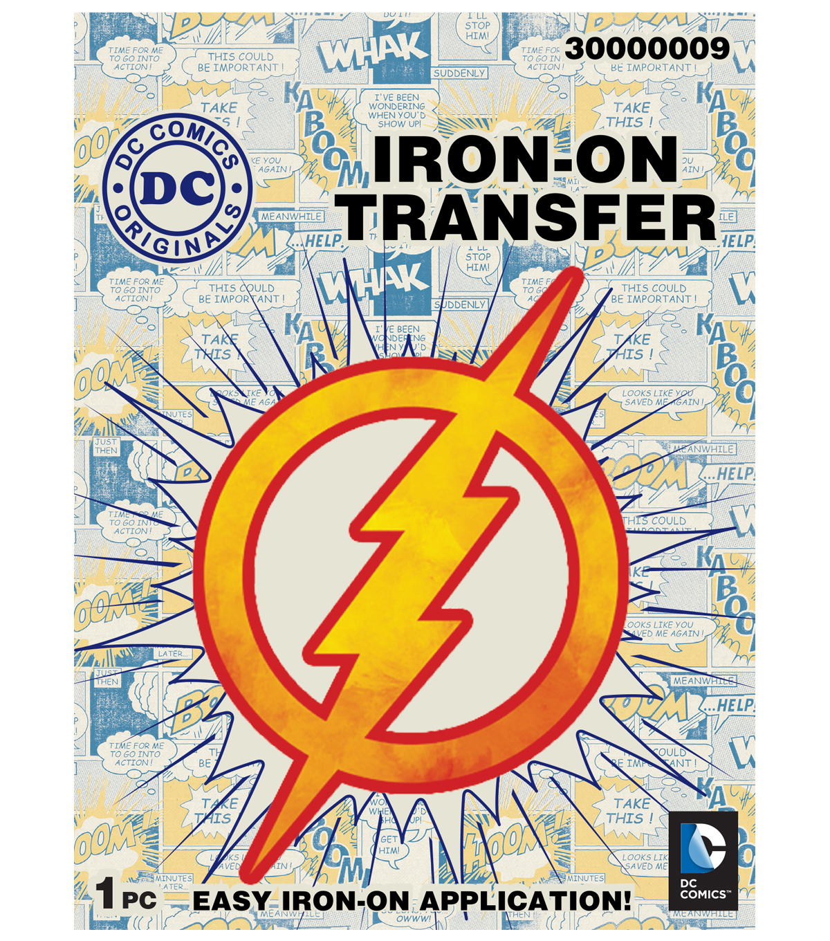 DC Comics® Small Transfer Fire Flash Logo