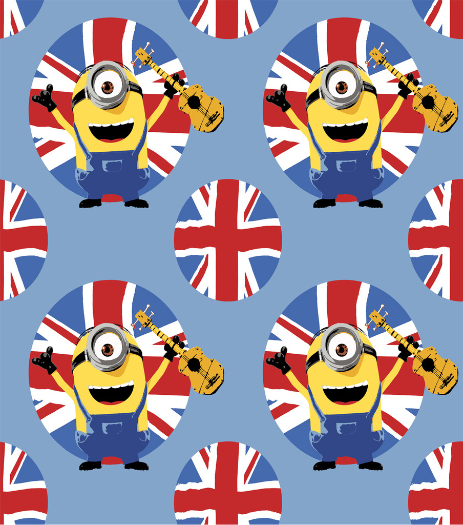 Minion Fleece Fabric 59\u0022-British Allover