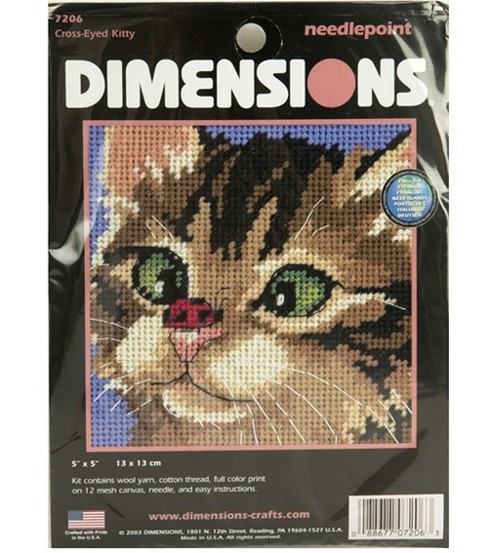 Dimensions Mini Needlepoint Kit Cross-Eyed Kitty