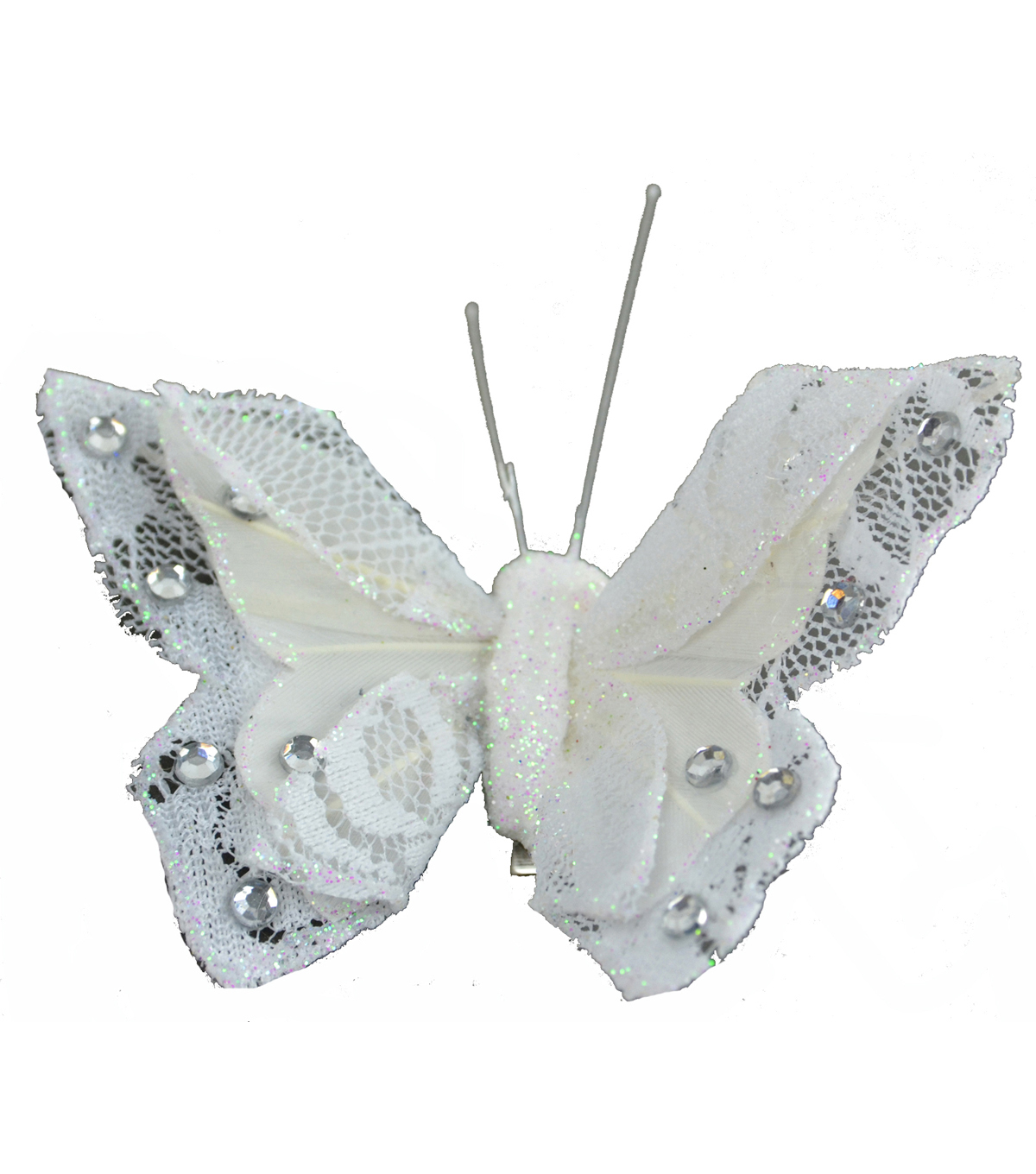 Blooming Holiday 3\u0027\u0027 Lace Butterfly With Clip-White