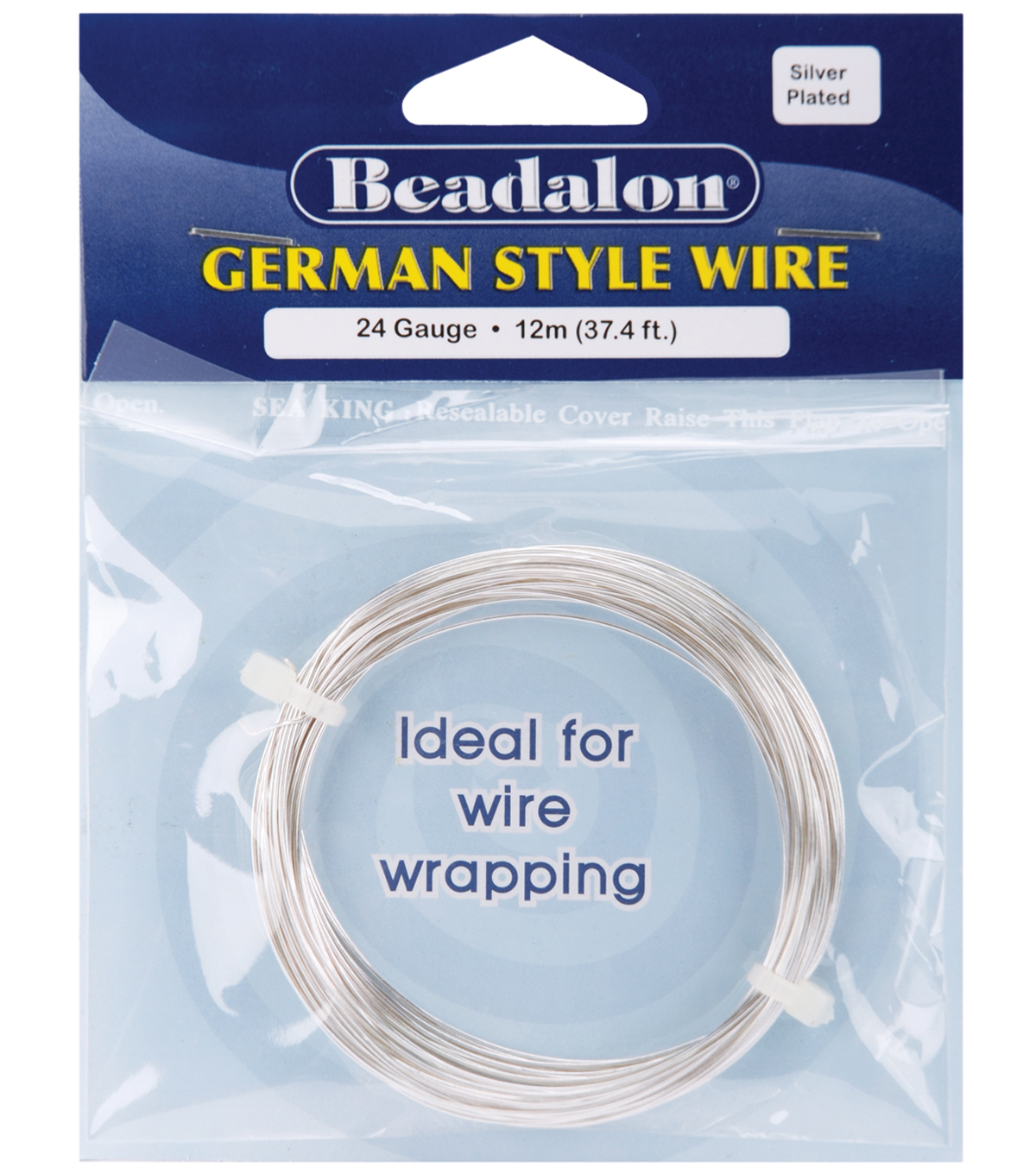 Beadalon German Style Round Wire 24 Gauge 37.4 Feet/Pkg-Silver