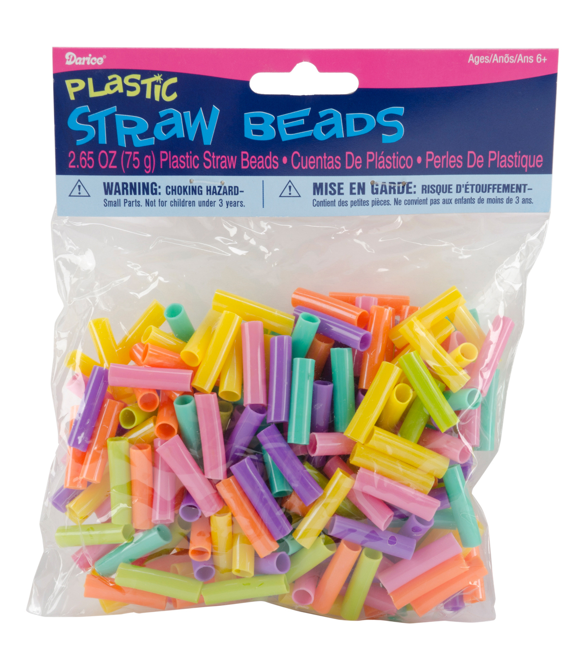 Plastic Straw Beads 75g/Pkg-Assorted Colors