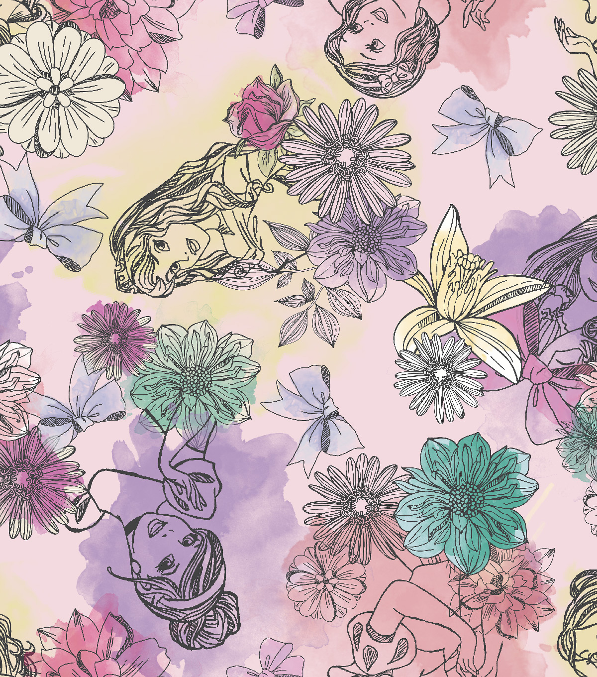Disney® Princess Satin Fabric 57''-Watercolor