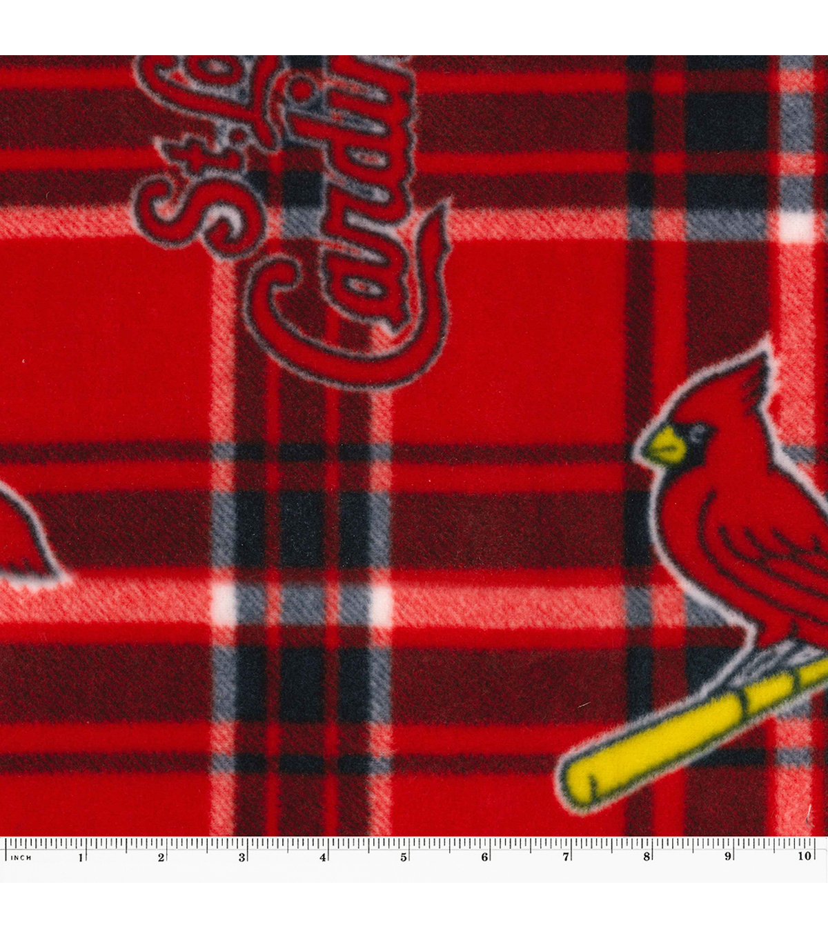 St. Louis Cardinals Fleece Fabric 58\u0022-Plaid