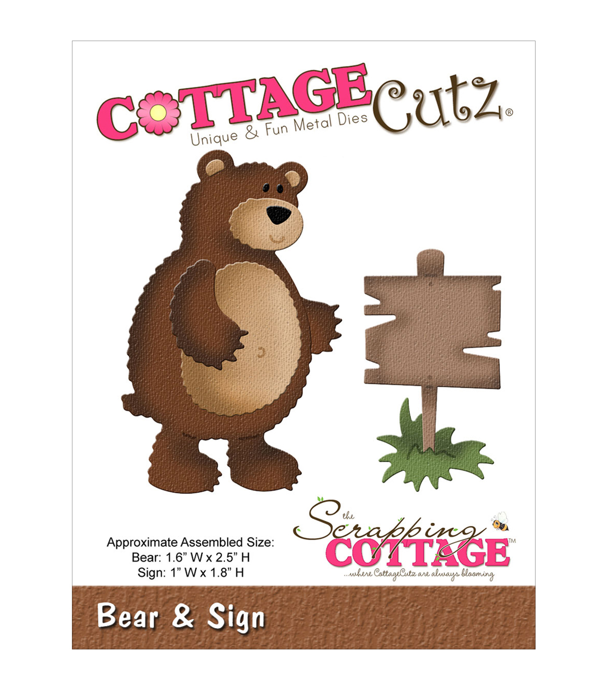 CottageCutz Die-In The Woods Bear & Sign