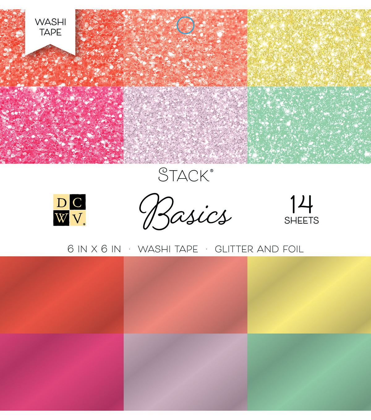 "DCWV Pack of 14 6""x6"" Glitter & Foil Washi Tape Stack-Basics"