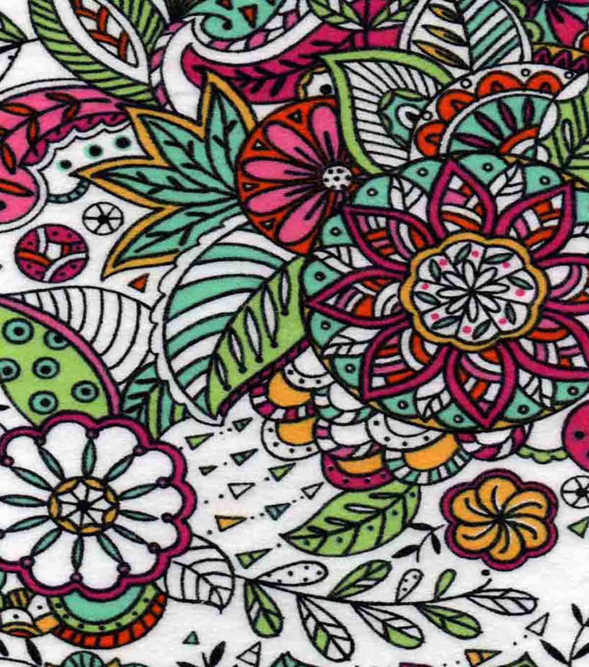Snuggle Flannel Fabric 42''-Multi Color Sketched Floral