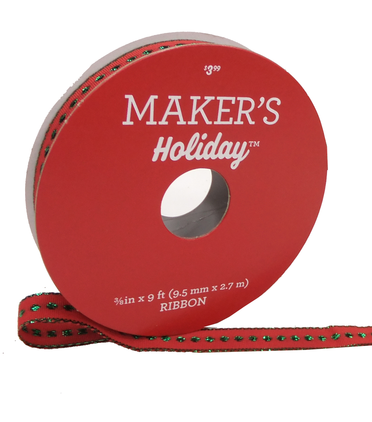 Maker's Holiday Christmas Satin Ribbon 3/8''x9'-Green Dots on Red