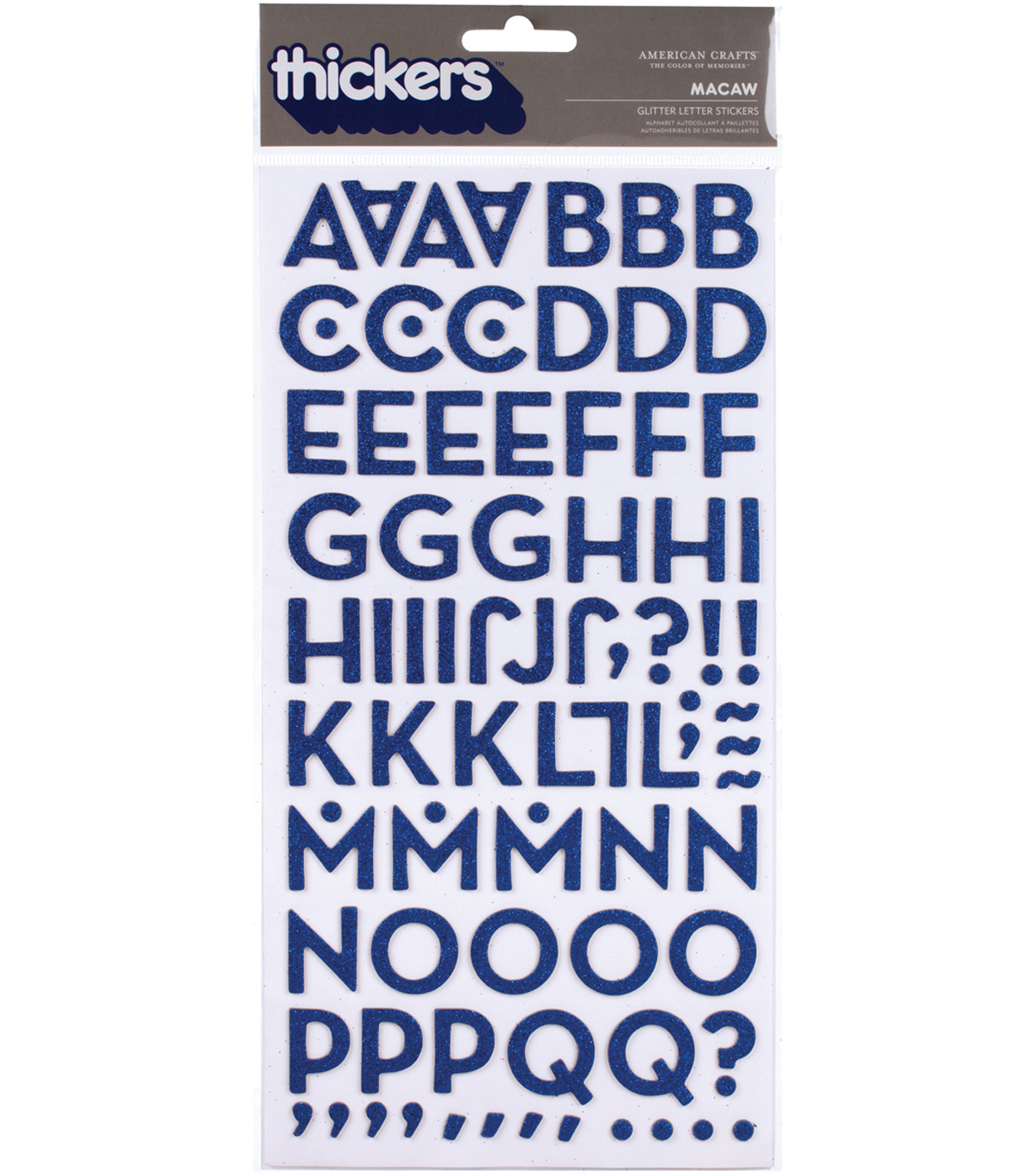 Thickers Chipboard Alphabet Stickers 5.625x11\u0022 Sheet-Macaw