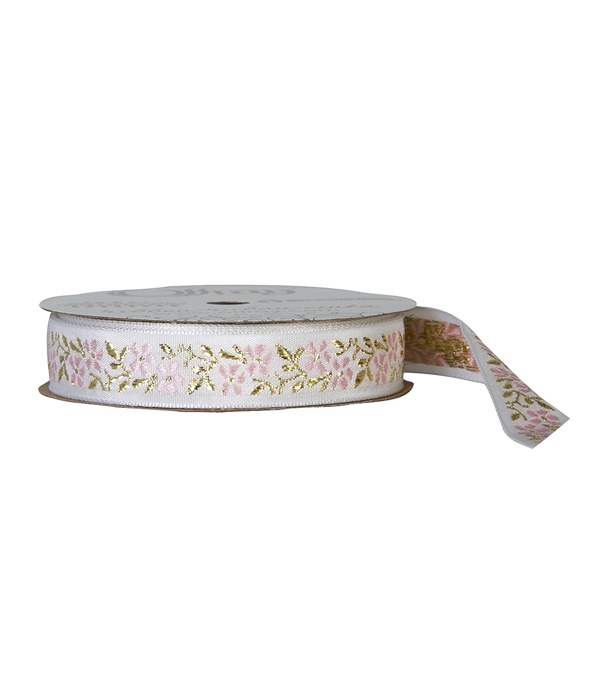 "Offray 5/8""x9' Dainty Floral Jaquard Woven Ribbon-Pink"