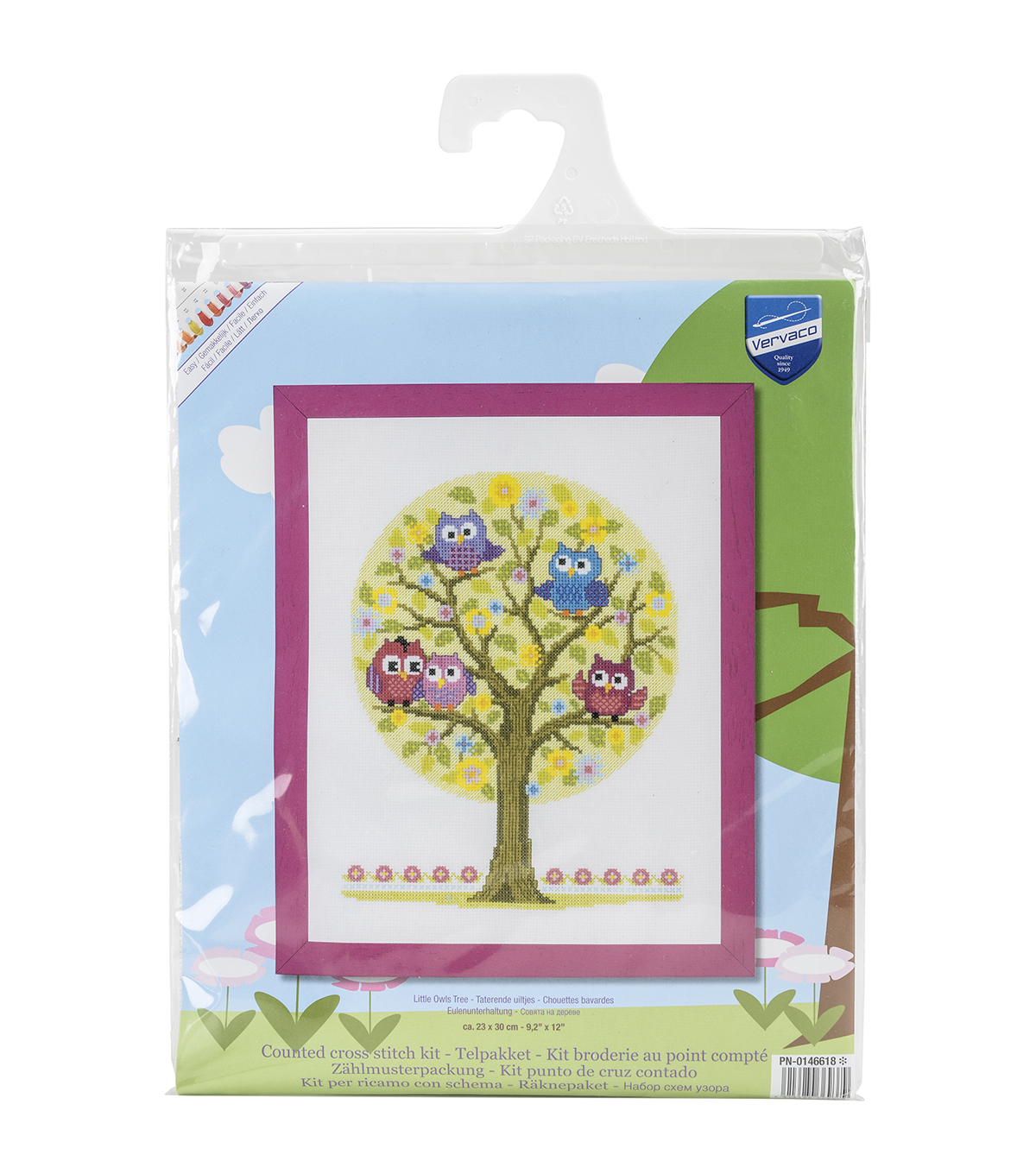 Vervaco Aida Counted Cross Stitch Kit-Little Owls Tree
