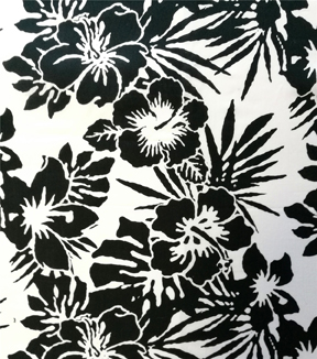 "Cotton Shirting Tropical Fabric 57""-Black & White Jumbo Floral"