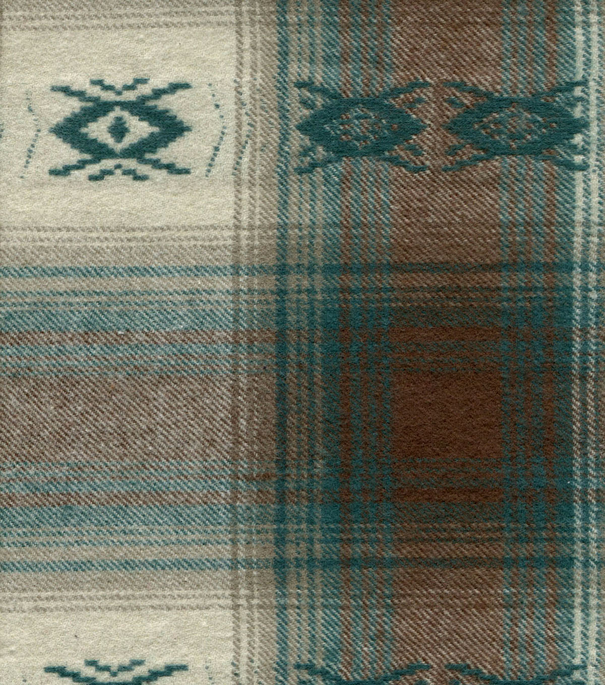 Flannel Shirting Fabric 41\u0022-Tribal Teal Brown