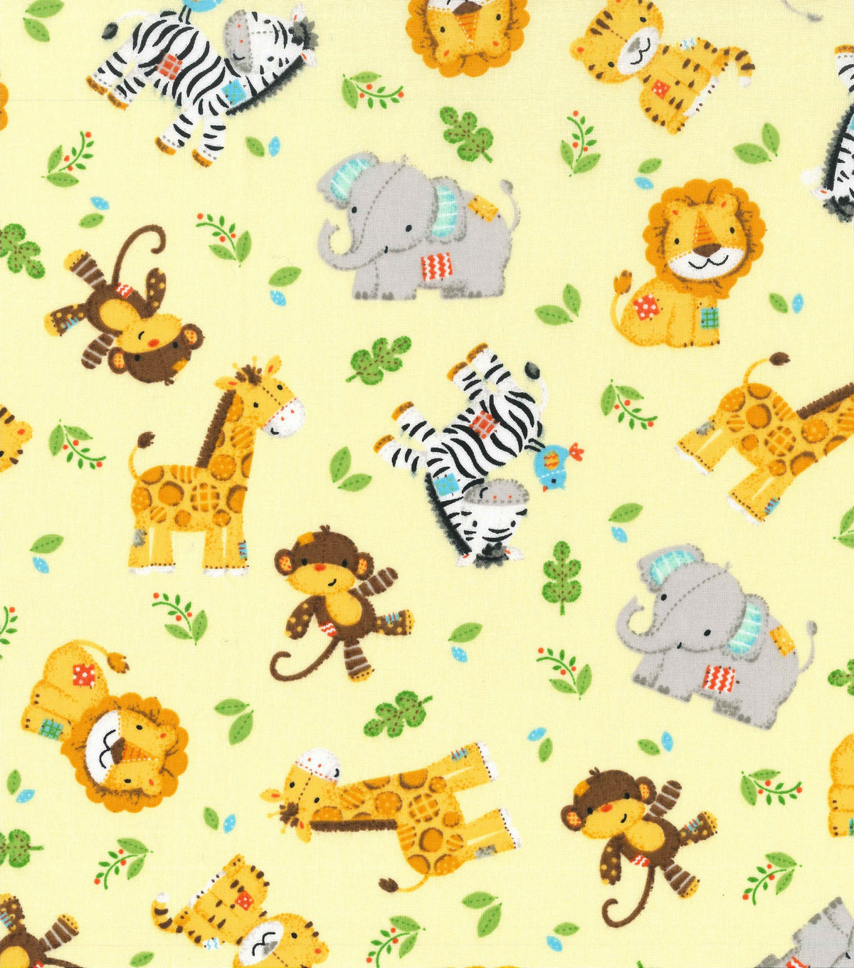 Nursery Cotton Fabric 43\u0022-Zoo Animal Toss