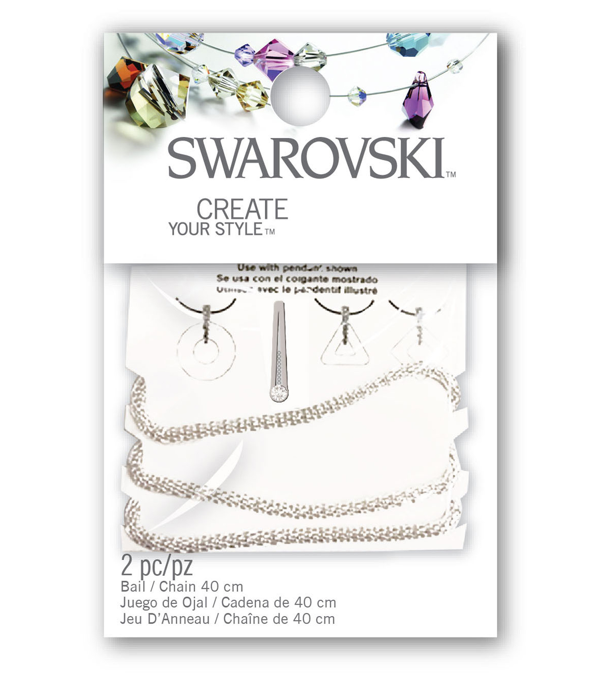 Swarkovski Bail Chain Set Crystal Ring Mesh 2pc