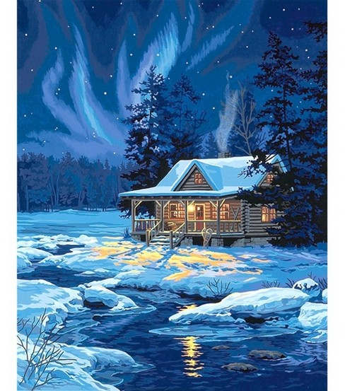 Paint By Number Kit 16\u0027\u0027X20\u0027\u0027-Moonlit Cabin