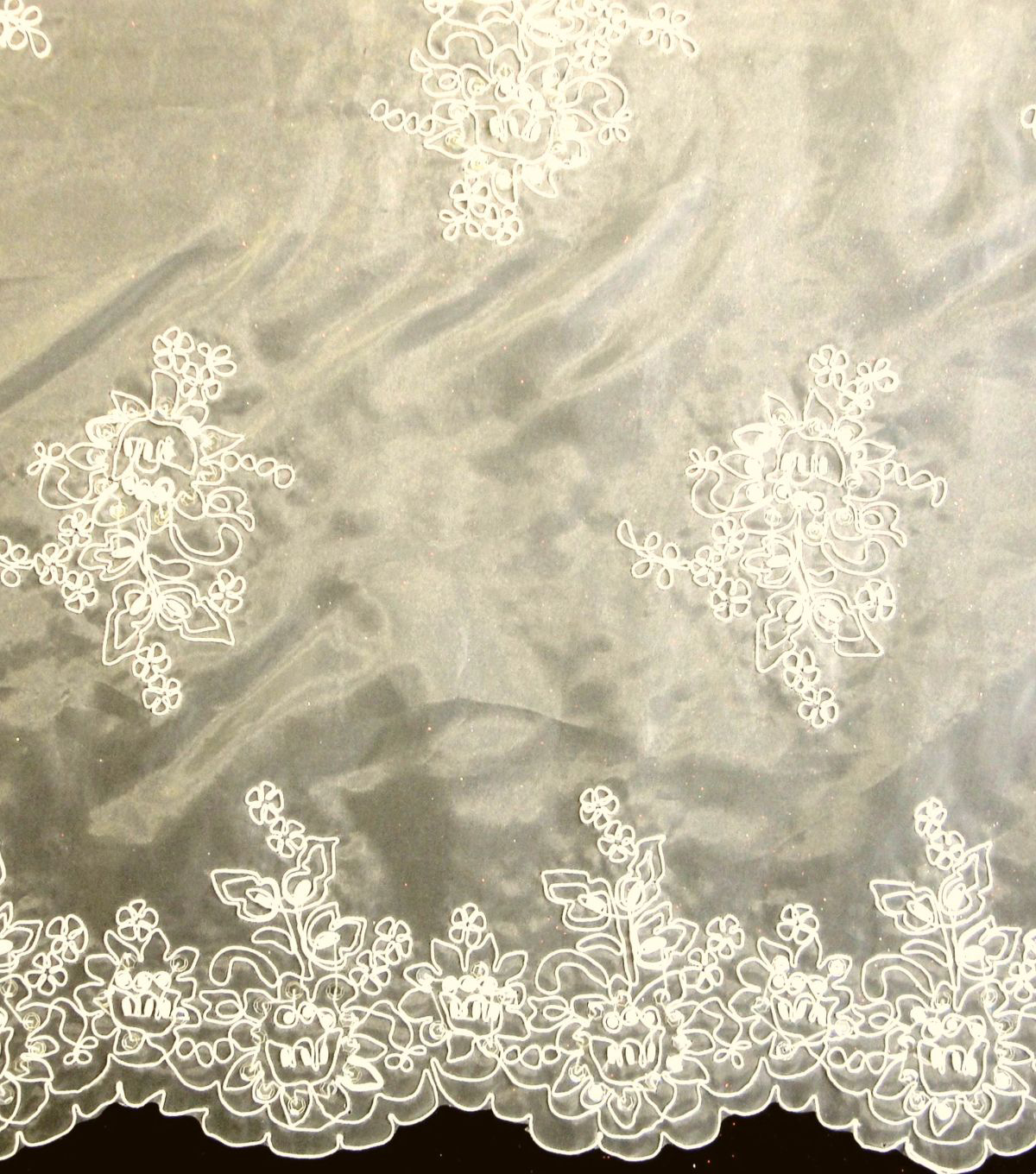 "Bridal Inspirations Embroidered Organza Fabric 58""-Ivory"